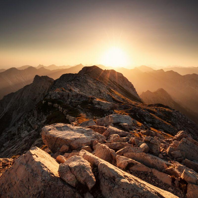 sunrise from mountain top Grosser Daumen in Allgau Alps